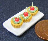 1:12 Tray Of Kiwi & Cherry Cup Cakes Dolls House Miniature Accessories PL41