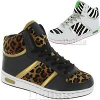 LADIES WOMENS ANKLE GIRLS HI HIGH TOP TRAINERS BASEBALL SCHOOL BOOTS SHOES 3-8