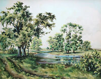 Watercolour by Frances Fry, Green landscape with trees, path and river.
