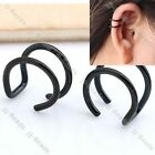 2pcs Punk Black Stainless Steel Twin Closure Cartilage Clip On Ear Cuff Earring