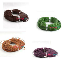 45M Bulk Lots Free Shipping Mixed Round Real Leather Necklace Cord 2mm Dia
