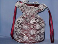 BNWOT Burgundy duchess satin and ivory lace dolly bag