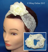 CREAMY WHITE LACE WITH ROSE FLOWER HEADBAND ELASTIC HAIR HEAD BAND WRAP HEADWRAP
