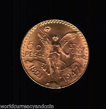 MEXICO 50 PESOS 1947 37.5 GRAMS REAL BEAUTY MEXICAN LATINO GOLD CURRENCY COIN