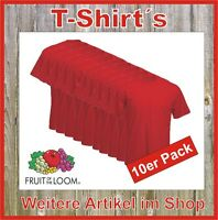 10 x T-Shirt Fruit of the Loom Super Premium Qualität Bundle rot S M L XL XXL