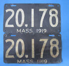 1919 Massachusetts license plates matched pair