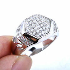 2015 New Men's ring Micro Pave Prong Set AAA Hip Hop CZ Sterling Silver Ring