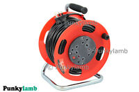 50M Freestanding Extension Reel UK Plug Mains Power Lead Cable 240V 4 Sockets