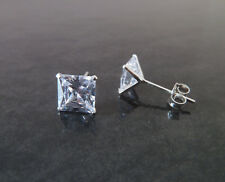 925 Sterling Silver Mens Square CZ Cubic Zirconia Single Stud Earring 3mm-7mm