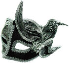 VENETIAN BLACK / SILVER MASK WITH DECORATION - MASQUERADE PROM BALL -FANCY DRESS