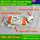 10x LED Driver 15W 12V LED Driver Transformer 12 V+PowerCord+3 MR16 Lamp Holders