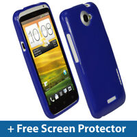 Blue Glossy TPU Gel Case for HTC One X + Plus S720e Android Skin Cover Holder 1