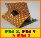 THE NEW IPAD 2ND 3RD & 4TH GEN ORANGE POLKA DOT 360° ROTATING SMART COVER CASE