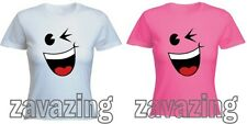 WINK SMILEY FACE LADY FIT T-SHIRT WINKING FLIRT SMILE FUNNY  PRESENT GIFT