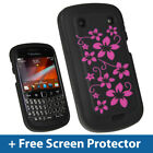 Black Flower Silicone Skin Case for BlackBerry Bold Touch 9900 9930 Cover Holder