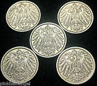 Germany - 5 Coins - German Empire - 1910A to 1914A Five Pfennig Coins