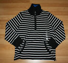 NWT Womens JONES NEW YORK Black White Stripe Long Sleeve Shirt Sz S Small$79