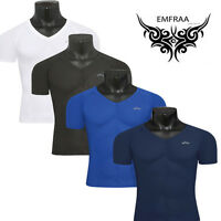 mens body skin compression tight under shirts base layer V-neck gear Top S~2XL