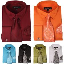 Men's French Cuff Dress Shirt with Matching Tie, Handkerchief and Cufflinks
