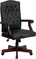 LOT OF 8 BLACK LEATHER EXECUTIVE CONFERENCE OFFICE CHAIRS WITH MAHOGANY FINISH