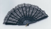LACE FAN BLACK BURLESQUE,FLAMENCO,SHOWGIRL VICTORIAN FANCY DRESS