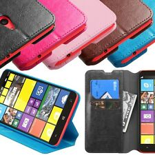 Leather Flip Stand Wallet Case Cover W/Card Slot For Nokia Lumia Phone Models