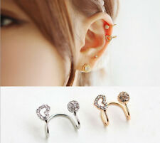 1pc Korea Hollow Heart Round Crystal 18K Gold Plated Ear Clip Earring 2 Color
