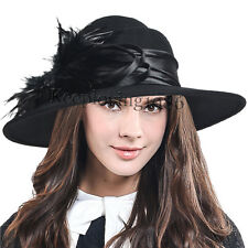 F&N STORY Lady Wool Wide Brim Dress Hat Plume Felt Church Hat Wedding Party Hat