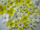 36 CAKE TOPPERS EDIBLE CUPCAKE FLOWERS YELLOW TONES