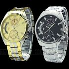 New Gift Luxury Mens Gold Stainless Steel Dial Casual Quartz Watch Wristwatch