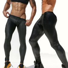 Sexy Men's Black Tights PU Long Pants Trunks Faux Leather Slim Trousers