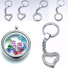 30mm Heart/Round Crystal Silver Keychain Floating Charm Memory living Lockets