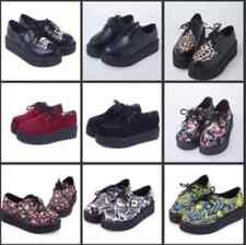 HARAJUKU style women's shoes vintage lace up flower print creepers flats shoes /