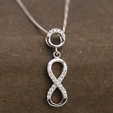 925 Sterling Silver CZ Detailed Infinity Knot Pendant Necklace Romantic Gift/Box