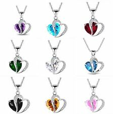 NEW Women Heart Crystal Rhinestone Chain Silver Pendant Necklace Fashion Jewelry