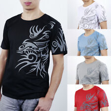 MEN'S FOXY TATTOOS PRINTED SHORT SLEEVES ROUND NECK TEE T-SHIRT SLIM FIT TOPS