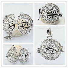 C925 Solid Sterling Silver Harmony Ball Chime Bell Cut Out Cage Pendant 20mm
