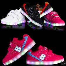 New LED Light Up Kids Boys Girls Dance Sneakers Trainers Sports Skate Shoes