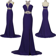 Shiny BEADED Long Evening Formal Bridesmaid Ball Gown Prom Cocktail Party Dress