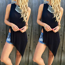 New Fashion Womens Top Sleeveless Black Blouse Casual Tank Tops T-Shirt S-XL