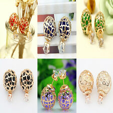 Elegant Fashion Cute Women Double Pearl Beads Plug Earrings Ear Stud Pin Jewelry