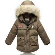 2015 new  Kids Boys Fur collar Thicken Down Jacket 4 Color size 3-6Y