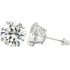 3MM-8MM Round Clear CZ 14K Solid White Gold Stud Earrings Basket Set Screw Back