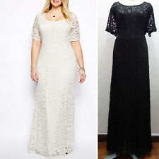 Sexy Women Lace Backless Short Sleeve Party Cocktail Maxi Long Dress Plus Size