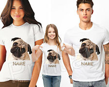 WHITE TSHIRT MENS WOMEN CHILDREN KIDS FOR PUG DOG CAN PERSONALISE