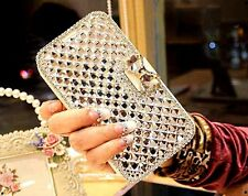 Luxury Bling Bowknot Crystal Diamond Wallet Case Cover For iPhone Samsung