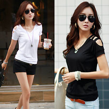 Sexy Womens Short Sleeve Loose White T Shirt Summer Casual Tops Blouse