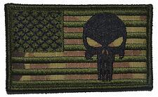 2x3.5 USA Flag with Superimposed Punisher Tactical Skull Military Morale Patch