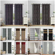 JACQUARD CURTAINS,RING TOP, FULLY LINED EYELET,READY MADE+TIEBACK FREE P&P DEALS