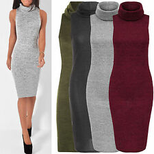 WOMENS COWL NECK MIDI DRESS STRETCH SLEEVELESS KNIT MARL LOOK LADIES BODYCON TOP